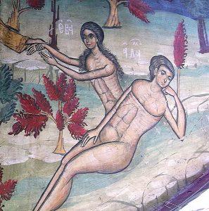 Suczawica (Sucevita), monastyr, fragment fresku, stworzenie Ewy.jpg, źródło: Wikimedia Commons