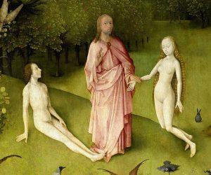 Der Garten der Lüste - Christus, Adam und Eva.jpg, źródło: Wikimedia commons