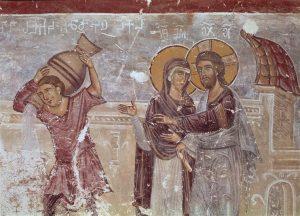 Eglise du Saint-Sauveur, transept sud les noces de Cana, fragment. Géorgie, Tsalendjikha.jpg, źródło: Wikimedia commons