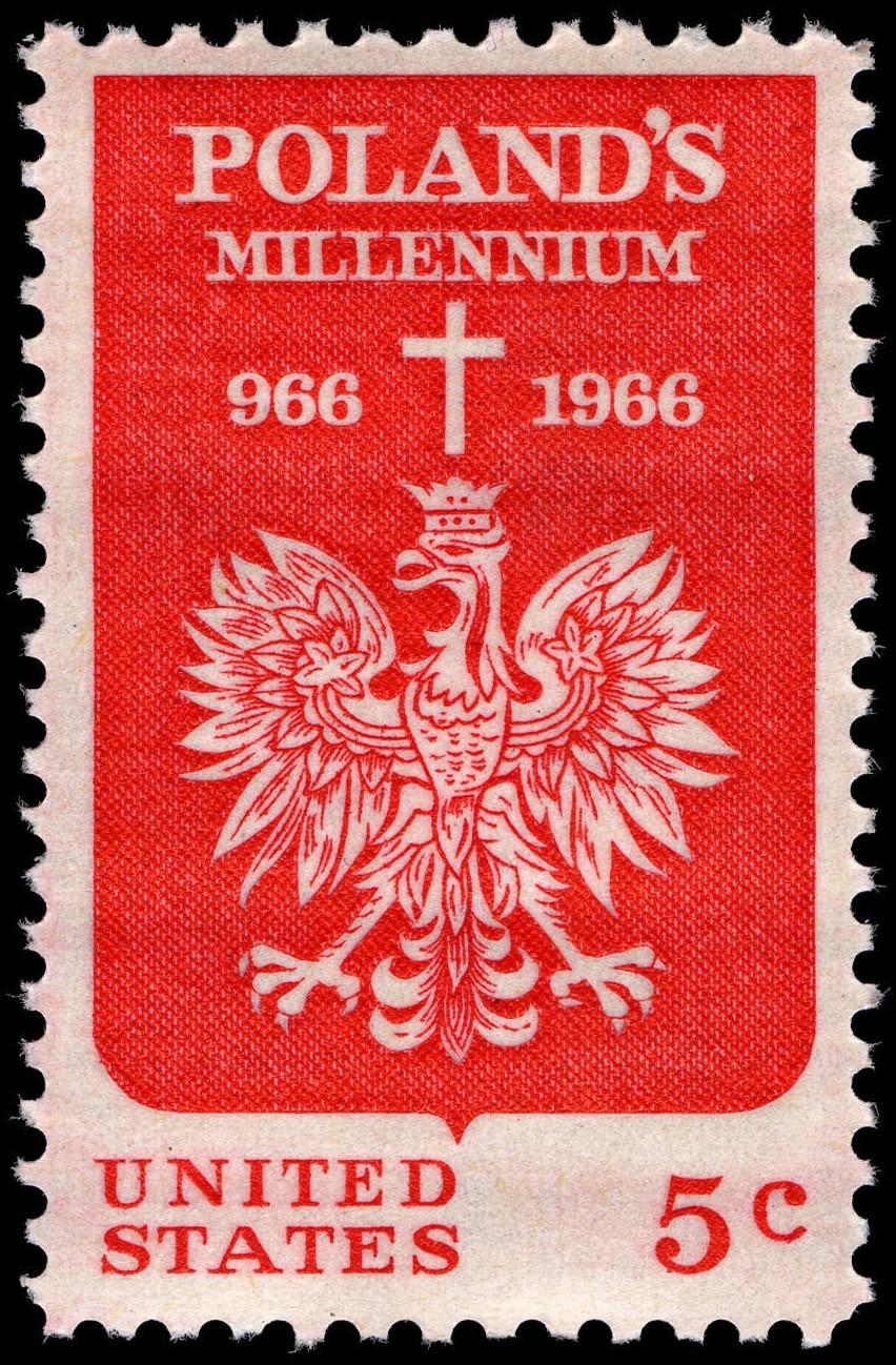 Znaczek wydany w USA z okazji 1000-lecia chrztu Polski - fot. Wikimedia Commons