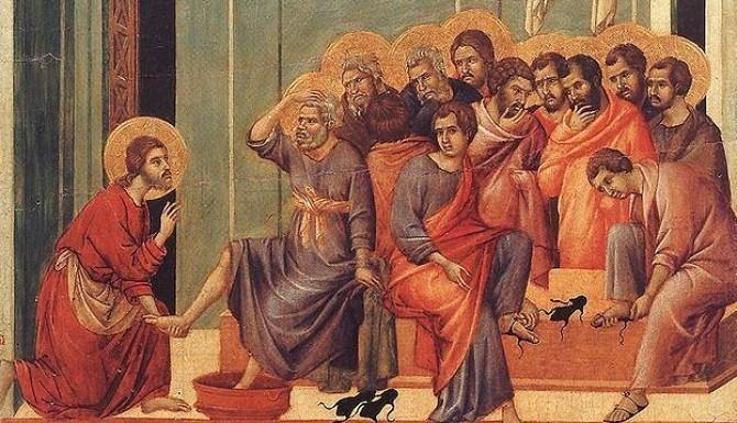 """Duccio, """"Mycie Nóg"""" (między 1308 a 1311)"""