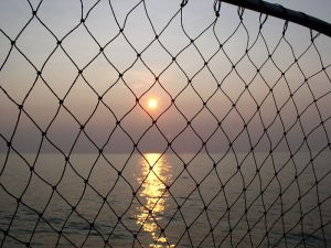 Lake Erie Sunset with fish net.JPG, źródło: Wikimedia commons