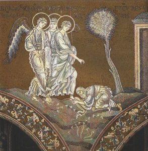 Abraham bends down before the Three Angels.jpg, źródło: Wikimedia commons