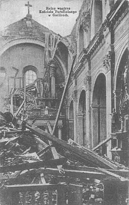 Kościół parafialny w Gorlicach po bitwie 1915 r. - fot. cmentarze.gorlice.net.pl