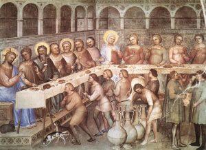 Giusto de' menabuoi, nozze di cana, 1376-78, battistero di Padova.jpg, źródło: Wikimedia commons